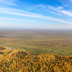 Swampy plain in autumn, top view