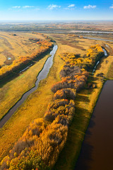 Top view of the flood-land of river in autumn