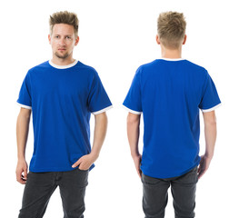 Man posing with blank blue shirt