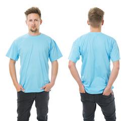 Man posing with blank light blue shirt
