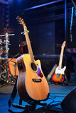 Fotoroleta Guitars and other musical equipment on stage before concert