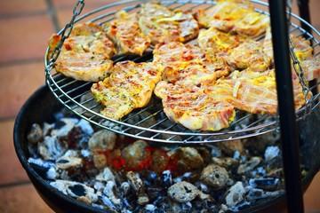 grilled caucasus barbecue close-up