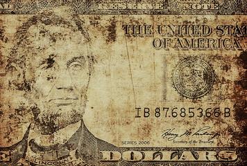 old grunge portrait of Abraham Lincoln, five dollar bill