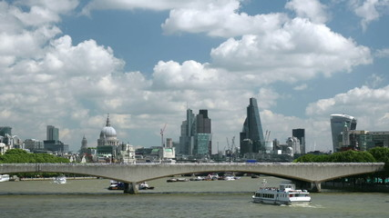 Waterloo Bridge, the Thames and the City of London.