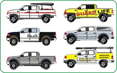 Trucks of police, beach patrol, guard life, window washing