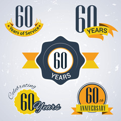 Retro vector stamp celebrating, 60 years of service,Anniversary