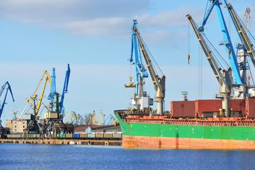 Cargo ship (Bulk carrier) loading in cargo terminal of Riga