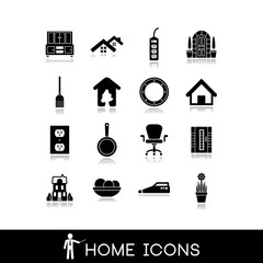 Home icons - Room interior - Vectors set