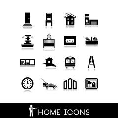 Home icons - Room interior - Vectors set