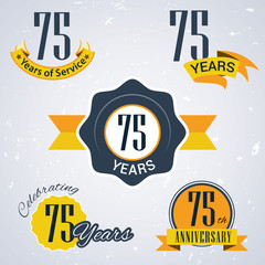 Retro vector stamp celebrating, 75 years of service,Anniversary