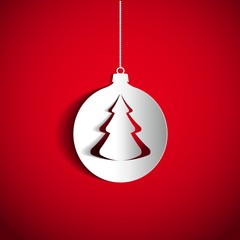 Christmas ball and tree on red background made from papercut, ve