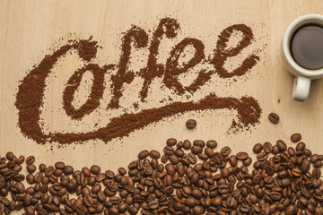 Ground coffee typography