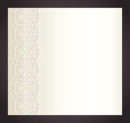 Luxury creamy invitation with imitation of lace
