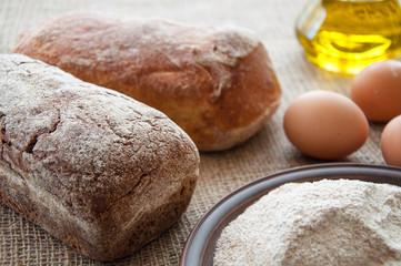 Homemade bread ciabatta on the table