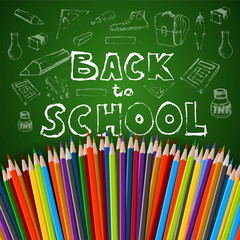 Back to school poster, vector colorful crayons on white paper wi