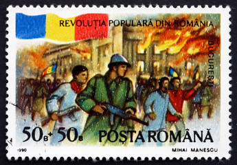 Postage stamp Romania 1990 Palace on Fire, Bucharest