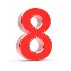 Metal big red 3D number on white - isolated with clipping path