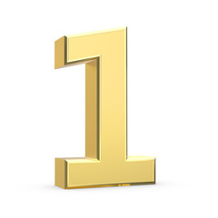 Shiny big golden 3D number on white - isolated