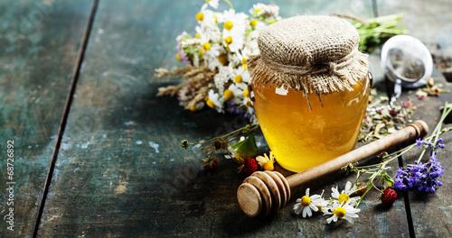 Foto op Plexiglas Dessert Honey and Herbal tea