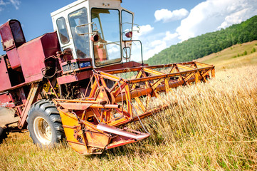 Harvesting machinery in wheat and grain crops