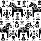 Swedish folk art Dala or Daleclarian horse black pattern - 68727643