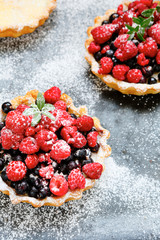 rustic mini tart with berries