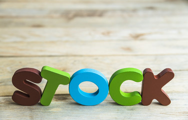Colorful wooden word Stock on wooden floor5