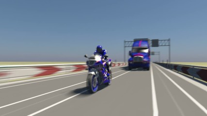Motorcycle races the truck