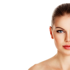 Beauty portrait of young facial care girl with healthy skin