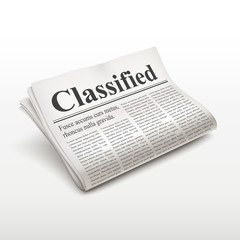 classified words on newspaper