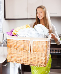 housewife with linen basket