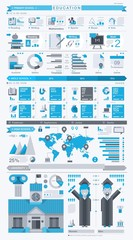 education info graphic, vector set with flat icons
