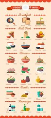 colorful food and drinks icons, vector menu