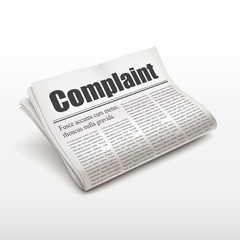 complaint word on newspaper