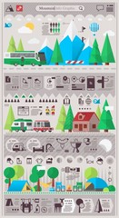 mountain & camping info graphic elements. vector background