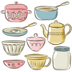 set of different  tableware, vector