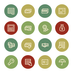 Finance and Banking web icons, vintage color