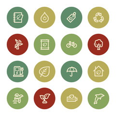Green ecology web icon set 4, vintage color