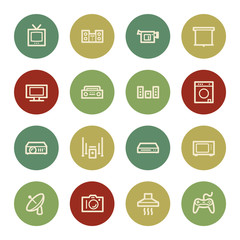 Home Appliance web icons, vintage color
