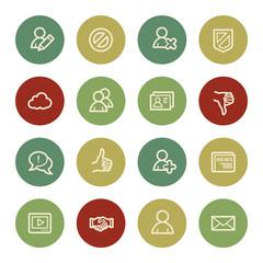 Community. Social media web icons, vintage color