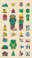 mountain elements, vector camping kit