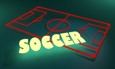 football field and neon shine text soccer