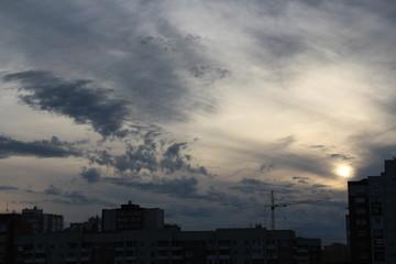 Evening sky over the city