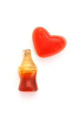 Cola bottles candy and heart jelly