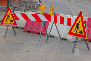 Traffic signs for construction works in street