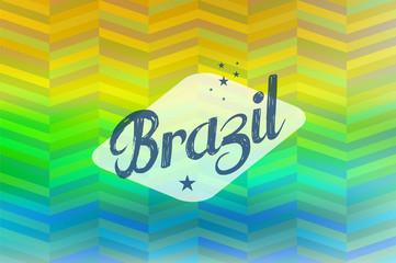 Brazil 2014 vintage label blurred background
