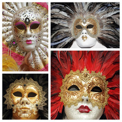 venetian masks collage