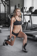 Woman lunge exercise