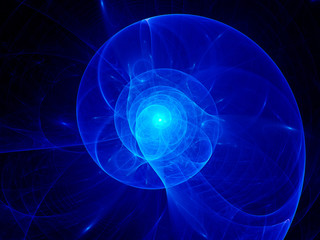 Blue plasma spiral in space