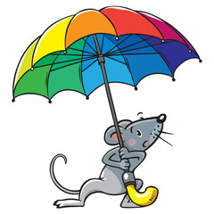 Small funny poor mouse with umbrella
